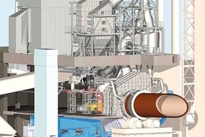 3D-Planung – Querschnitt. Wärmeverschiebeanlage auf der obersten Bühne. Die gesamte Technik konnte nur durch Stapeln in der Vertikalen untergebracht werden<br />