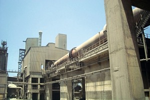 The rotary kiln of the Chekka cement plant in Northern Lebanon