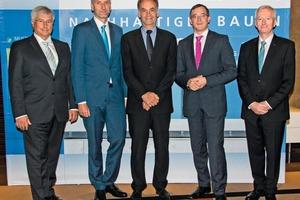 "<div class=""bildtext_en"">2 The hosts and speakers at Deutsche Bauchemie's annual conference (from right): Johann J. Köster (Chairman of the Board of Management), Prof. Dr. Andreas Rödder, Dr. Berend Diekmann, Torsten Voß and Norbert Schröter (General Manager)</div>"