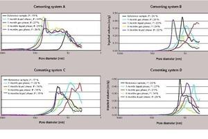 Gesamtporosität und Porengrößenverteilung von Zementproben nach Lagerung bei 400bar CO<sub>2</sub>-Druck und 90°C in synthetischem Lagerstättenwasser (Flüssigphase) oder wassergesättigtem CO<sub>2</sub>; Lagerzeiten: 1und 6 Monate