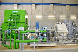 "<div class=""bildunterschrift_en""><span class=""bu_ziffer_blau"">2</span> The heart of the plant – here the so far unused waste heat is converted into electricity by means of a turbine and a generator </div>"