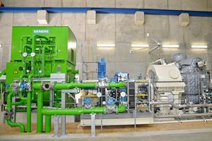 Das Herzstück der Anlage – hier wird die bisher ungenutzte Abwärme mittels einer Turbine und eines Generators in Strom umgewandelt