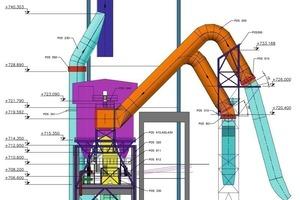 Plan der Kanäle am Einlauf in den Gewebefilter (orange)<br />