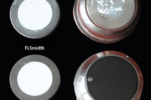 "<div class=""bildtext_en"">6 The sample with the black colored dye is the advanced unique solution from FLSmidth. Now lime samples can be automatically pressed defect-free</div>"