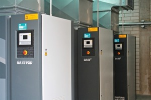 "<span class=""bildunterschrift_hervorgehoben"">3</span>	Three energy-efficient screw compressors, type GA, in the new central compressed-air station at Walhalla Kalk: right in front the speed-controlled GA 75 VSD (VSD Variable Speed Drive), behind it two somewhat smaller units, type GA 55+.<br />"