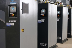 "<div class=""bildtext_en"">2 The new compressed air station was commissioned in March 2015. A speed-controlled GA 90 VSD screw compressor from Atlas Copco feeds the compressed air together with three other GA-90 compressors into the 6.5-bar plant network</div>"
