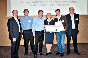 "<div class=""bildtext_en"">From left to right: jury members Rafael Sarrionandia (Smurfit Kappa Nervión), Larry Challis (Sack Solutions), Leon Bosma (Segezha Packaging) and Stina Blombäck (Eurosac and CEPI Eurokraft), the winner Wilhelm Dyckerhoff (Dy-pack) and jury member Thomas Hilling (Haver &amp; Boecker)</div>"