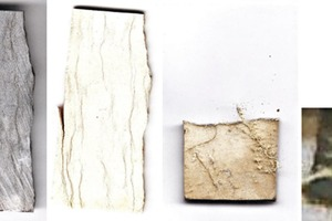 "<div class=""bildtext_en"">4 Images of limestone (left) and lime of origin S after burning at 1000 °C <br />(2nd from left), 1300 °C (3rd from left) and 1380 °C (right)</div>"