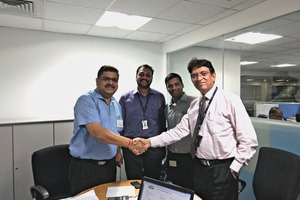"<div class=""bildtext_en"">N.K. Priyani, Head Procurement FLS India, and his team shaking hands with Raju Gupta, Managing Director Aumund India</div>"