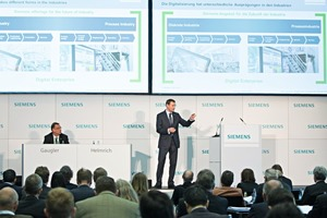 "<div class=""bildtext_en"">1 Siemens AG Managing Board Member Klaus Helmrich (right) is responsible for the divisions Process Industries and Drives. On the left presenter Günter Gaugler</div>"