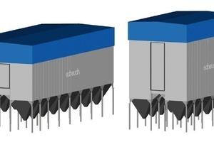 Größenvergleich EMC-Filteranlage für 1000000 Bm³/h beim Einsatz von 6 m oder 10 m - Filterschläuchen<br />