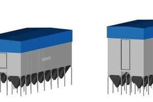 "<span class=""bildunterschrift_hervorgehoben"">5</span>	Size comparison of EMC filter unit for 1 000 000 Am³/h when using 6 m or 10 m filter bags<br />"
