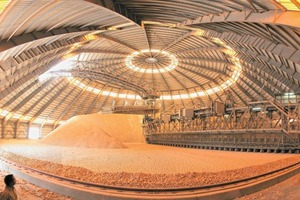 16 Arabian landscape in the circular limestone storage of Arabian Cement Company's Rabigh plant, Saudi Arabia