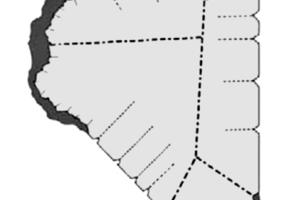 Bildung isolierter Cluster der intermediären Phase (hier bezeichnet als C-S-H) auf der Partikeloberfläche von C<sub>3</sub>S direkt nach dem Kontakt mit Wasser [11]