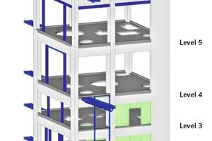 "<div class=""bildtext_en"">17 Stengthening of preheater tower, RC shear walls (green) and SS beams (blue)</div>"
