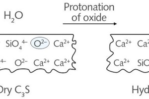 "<div class=""bildtext_en"">3 Reaction on the clinker surface (tricalcium silicate, C<sub>3</sub>S): water molecules (H<sub>2</sub>O) react with top surface layer oxide ions (O<sup>2-</sup>) to form hydroxide ions (OH<sup>-</sup>) [2]</div>"