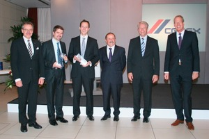 Prof. Dr. Harald Müller, Dr.-Ing. Michael Haist, Dr.-Ing. Till Felix Mayer, Prof. emeritus Dr.-Ing. Peter Schießl (chairman of the jury), Thomas Reiter und Eric Wittmann (CEO of  CEMEX Deutschland AG) during the award ceremony (from left)