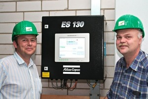 "<span class=""bildunterschrift_hervorgehoben"">4</span>	Walter Fuchs (left), responsible for project planning and maintenance, and Erich Winter, workshop master at Walhalla Kalk, permanently control the compressed-air generation by means of the energy saving system ES 130 V.<br />"