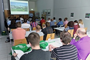 """<div class=""""bildtext_en"""">1 The students listened attentively to the address by Dr. Ulrich Schneider, Manager of HeidelbergCement AG's Leimen plant</div>"""