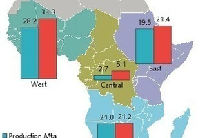 Zementproduktion und -verbrauch in Subsahara 2011<br />