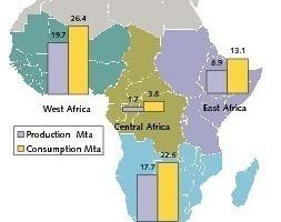 "<span class=""bildunterschrift_hervorgehoben"">2</span>Cement production and consumption in Sub-Saharan Africa 2008 (OneStone)<br />"