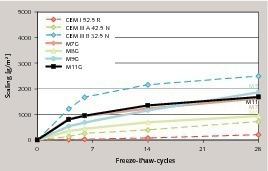 Einfluss unterschiedlicher Zementzusammensetzung auf den Frost-Tausalz-Widerstand<br />