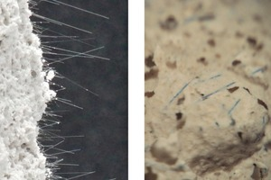 "<div class=""bildunterschrift_en""><span class=""bu_ziffer_blau"">2</span> Images of autoclaved cellular concrete after bending and tensile tests; left: pull-out fibres, uniformly distributed over the entire fracture surface; right: AR-fibres coloured blue with CoO, uniformly distributed over the entire area</div>"